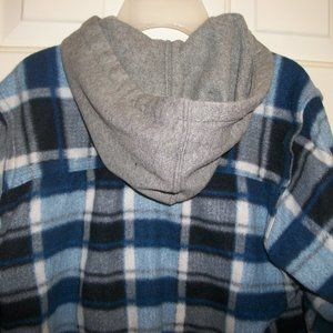 Other - Hooded Blue Plaid Flannel Shirt Size Medium